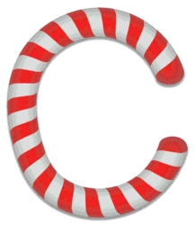 C - Candy cane. Free printable candy cane stripes, font, alphabet letters and numbers, christmas, clipart, downloadable.
