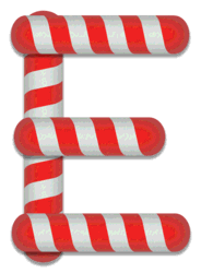 E - Candy cane. Free printable candy cane stripes, font, alphabet letters and numbers, christmas, clipart, downloadable.