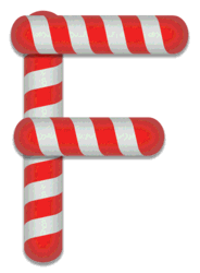 F - Candy cane. Free printable candy cane stripes, font, alphabet letters and numbers, christmas, clipart, downloadable.