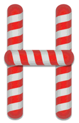H - Candy cane font. Free printable candy cane stripes, font, alphabet letters and numbers, christmas, clipart, downloadable.
