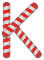 K - Candy cane font. Free printable candy cane stripes, font, alphabet letters and numbers, christmas, clipart, downloadable.