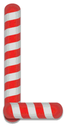 L - Candy cane font. Free printable candy cane stripes, font, alphabet letters and numbers, christmas, clipart, downloadable.