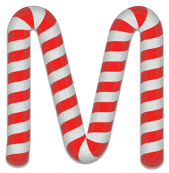 M - Candy cane font. Free printable candy cane stripes, font, alphabet letters and numbers, christmas, clipart, downloadable.