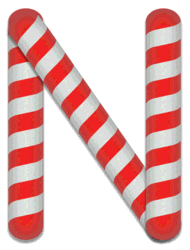 N - Candy cane letter. Free printable candy cane stripes, font, alphabet letters and numbers, christmas, clipart, downloadable.