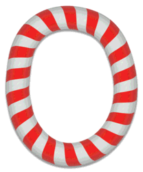 O - Candy cane letter. Free printable candy cane stripes, font, alphabet letters and numbers, christmas, clipart, downloadable.