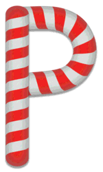 P - Candy cane letter. Free printable candy cane stripes, font, alphabet letters and numbers, christmas, clipart, downloadable.