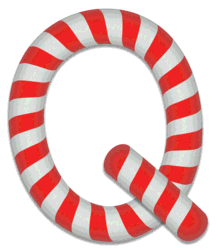 Q - Candy cane letter. Free printable candy cane stripes, font, alphabet letters and numbers, christmas, clipart, downloadable.