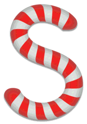 S - Candy cane letter. Free printable candy cane stripes, font, alphabet letters and numbers, christmas, clipart, downloadable.