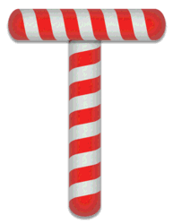T - Candy cane letter. Free printable candy cane stripes, font, alphabet letters and numbers, christmas, clipart, downloadable.
