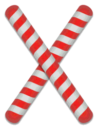 X - Candy cane clipart. Free printable candy cane stripes, font, alphabet letters and numbers, christmas, clipart, downloadable.