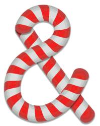 Ampersand stripes. Free printable candy cane stripes, font, alphabet letters and numbers, christmas, clipart, downloadable.