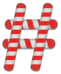 Pound sign stripes. Free printable candy cane stripes, font, alphabet letters and numbers, christmas, clipart, downloadable.