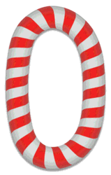 0 - Candy cane number. Free printable candy cane stripes, font, alphabet letters and numbers, christmas, clipart, downloadable.
