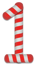 1 - Candy cane number. Free printable candy cane stripes, font, alphabet letters and numbers, christmas, clipart, downloadable.