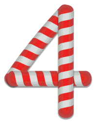 4 - Candy cane number. Free printable candy cane stripes, font, alphabet letters and numbers, christmas, clipart, downloadable.
