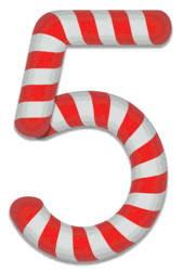 5 - Christmas number. Free printable candy cane stripes, font, alphabet letters and numbers, christmas, clipart, downloadable.