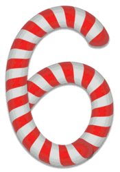 6 - Christmas number. Free printable candy cane stripes, font, alphabet letters and numbers, christmas, clipart, downloadable.