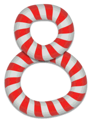 8 - Christmas number. Free printable candy cane stripes, font, alphabet letters and numbers, christmas, clipart, downloadable.