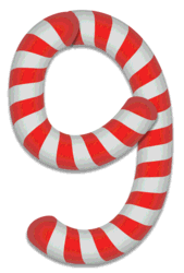 9 - Christmas number. Free printable candy cane stripes, font, alphabet letters and numbers, christmas, clipart, downloadable.