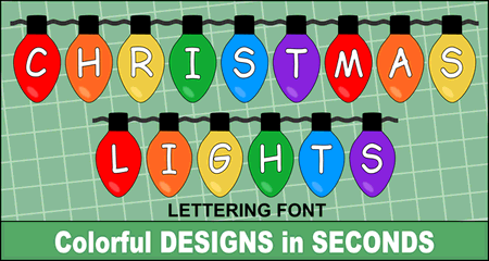 FREE Christmas lights font, clipart, lettering, printable, alphabet, generator, holidays, signs, bulletin boards, decorations, ornaments, patterns, templates, designs.