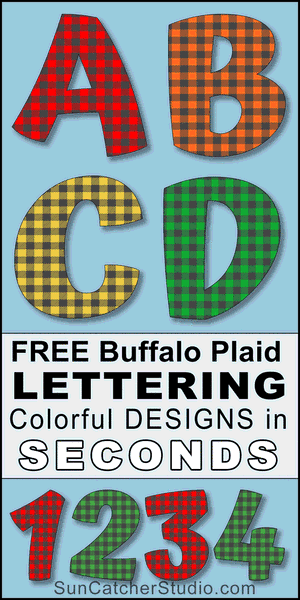 FREE diy colorful fun font, buffalo plaid lettering font, alphabet letters and bold numbers, lettering stencils, thick downloadable, printable font with plaid fill pattern, clip art.