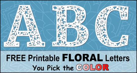 Decorative floral letters, flower alphabet font, printable, stencils, patterns, font letters, numbers, patterns, weddings, carving, free, decorations, etc.