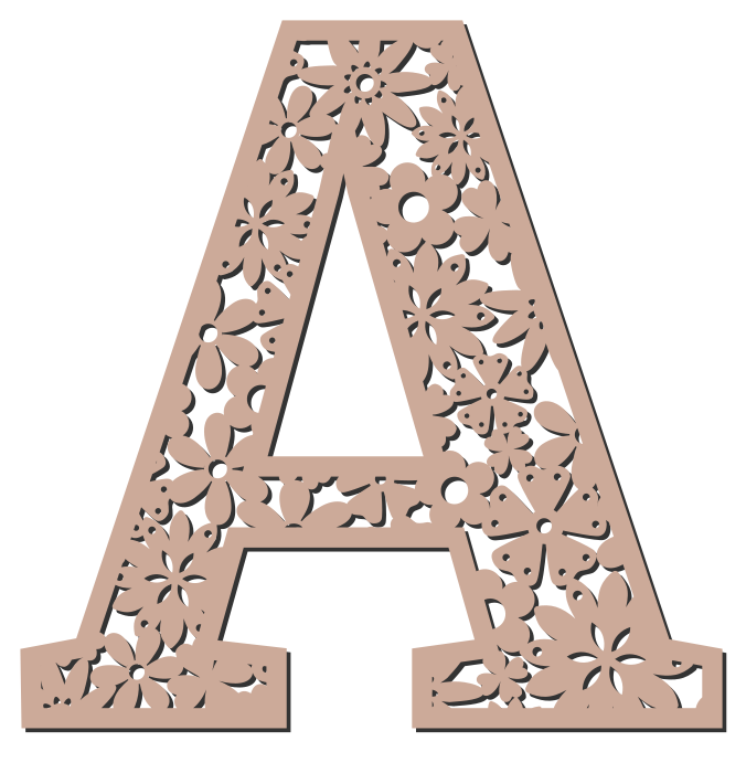 Free A - floral letter. Floral letter, flower font stencil, letter font, numbers, pattern, carving, template, clipart, printable alphabet letters and numbers, DIY, homemade, back to school, bulletin board, cricut, silhouette, coloring page, vector, svg.