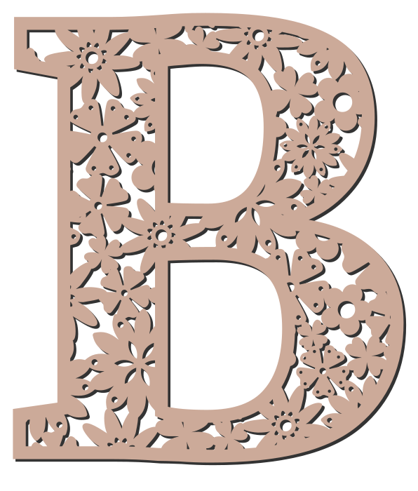 Free B - floral letter. Floral letter, flower font stencil, letter font, numbers, pattern, carving, template, clipart, printable alphabet letters and numbers, DIY, homemade, back to school, bulletin board, cricut, silhouette, coloring page, vector, svg.