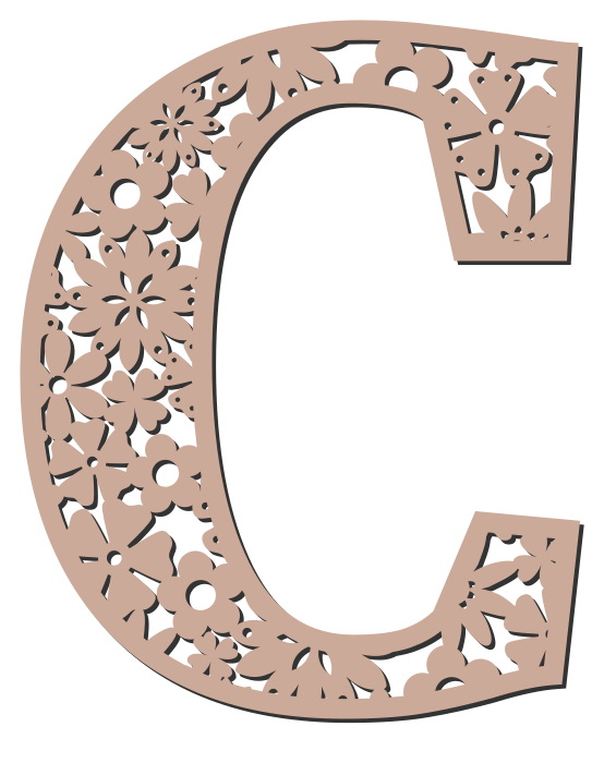 Free C - floral letter. Floral letter, flower font stencil, letter font, numbers, pattern, carving, template, clipart, printable alphabet letters and numbers, DIY, homemade, back to school, bulletin board, cricut, silhouette, coloring page, vector, svg.