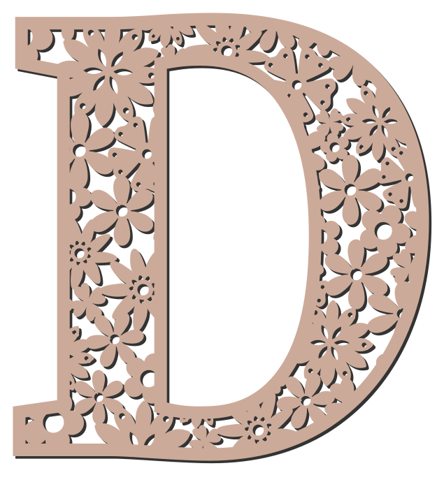 Free D - floral letter. Floral letter, flower font stencil, letter font, numbers, pattern, carving, template, clipart, printable alphabet letters and numbers, DIY, homemade, back to school, bulletin board, cricut, silhouette, coloring page, vector, svg.