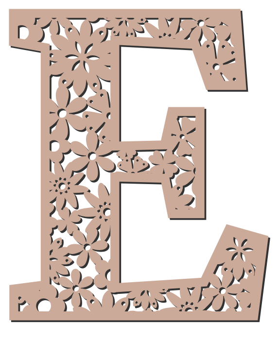 Free E  - floral letter. Floral letter, flower font stencil, letter font, numbers, pattern, carving, template, clipart, printable alphabet letters and numbers, DIY, homemade, back to school, bulletin board, cricut, silhouette, coloring page, vector, svg.