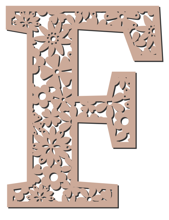 Free F  - floral letter. Floral letter, flower font stencil, letter font, numbers, pattern, carving, template, clipart, printable alphabet letters and numbers, DIY, homemade, back to school, bulletin board, cricut, silhouette, coloring page, vector, svg.