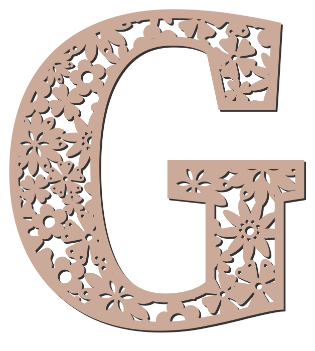 Free G - floral letter. Floral letter, flower font stencil, letter font, numbers, pattern, carving, template, clipart, printable alphabet letters and numbers, DIY, homemade, back to school, bulletin board, cricut, silhouette, coloring page, vector, svg.