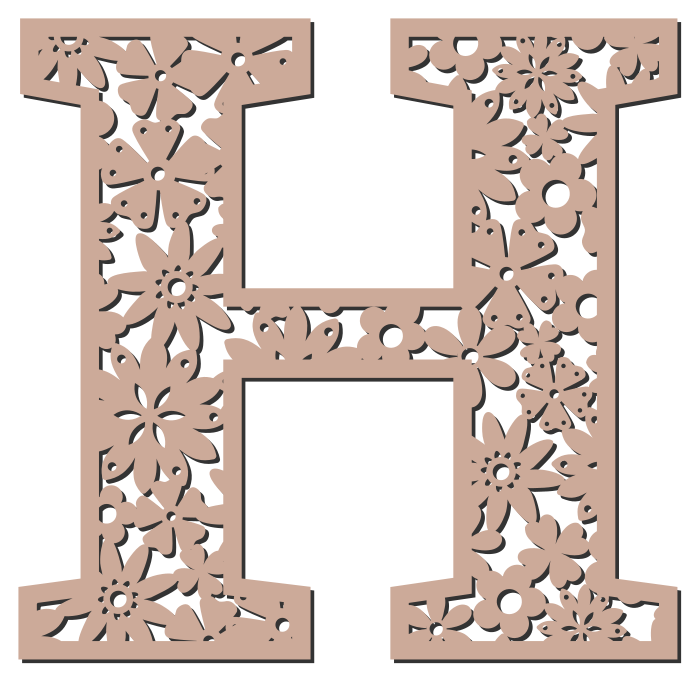 Free H  - floral letter. Floral letter, flower font stencil, letter font, numbers, pattern, carving, template, clipart, printable alphabet letters and numbers, DIY, homemade, back to school, bulletin board, cricut, silhouette, coloring page, vector, svg.