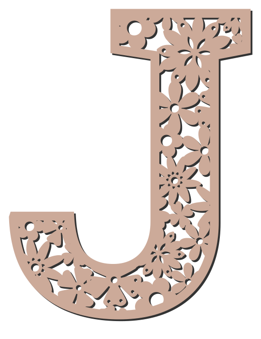 Free J  - floral letter. Floral letter, flower font stencil, letter font, numbers, pattern, carving, template, clipart, printable alphabet letters and numbers, DIY, homemade, back to school, bulletin board, cricut, silhouette, coloring page, vector, svg.