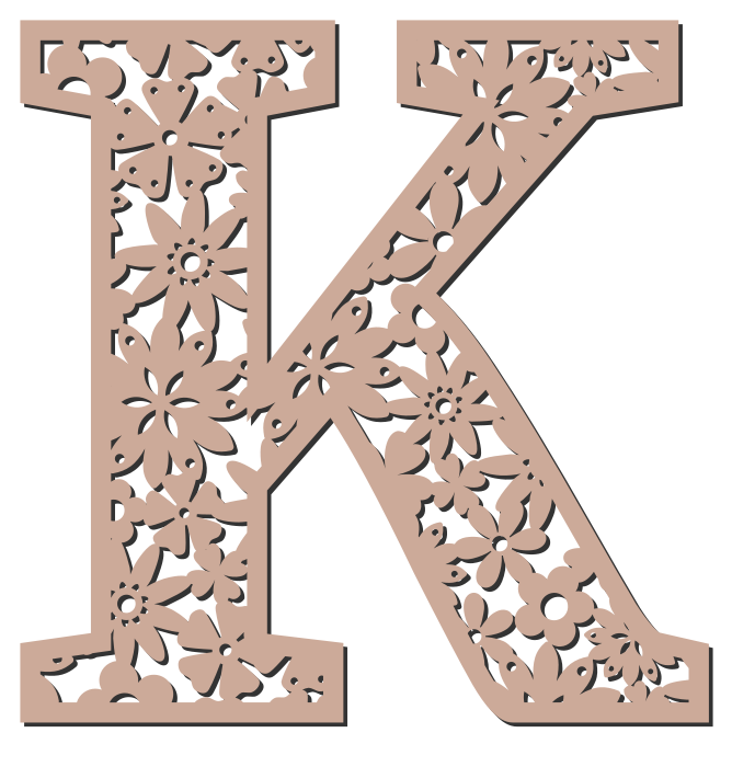 Free K  - floral letter. Floral letter, flower font stencil, letter font, numbers, pattern, carving, template, clipart, printable alphabet letters and numbers, DIY, homemade, back to school, bulletin board, cricut, silhouette, coloring page, vector, svg.