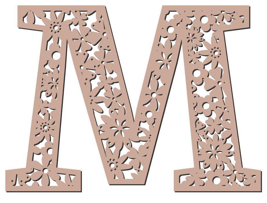 Free M  - floral letter. Floral letter, flower font stencil, letter font, numbers, pattern, carving, template, clipart, printable alphabet letters and numbers, DIY, homemade, back to school, bulletin board, cricut, silhouette, coloring page, vector, svg.