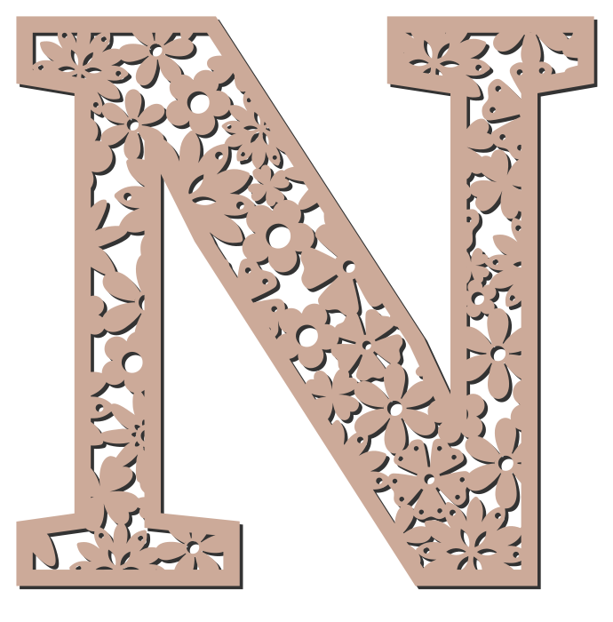 Free N  - floral font. Floral letter, flower font stencil, letter font, numbers, pattern, carving, template, clipart, printable alphabet letters and numbers, DIY, homemade, back to school, bulletin board, cricut, silhouette, coloring page, vector, svg.