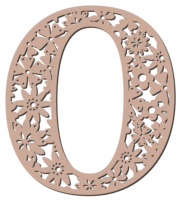 Free O  - floral font. Floral letter, flower font stencil, letter font, numbers, pattern, carving, template, clipart, printable alphabet letters and numbers, DIY, homemade, back to school, bulletin board, cricut, silhouette, coloring page, vector, svg.