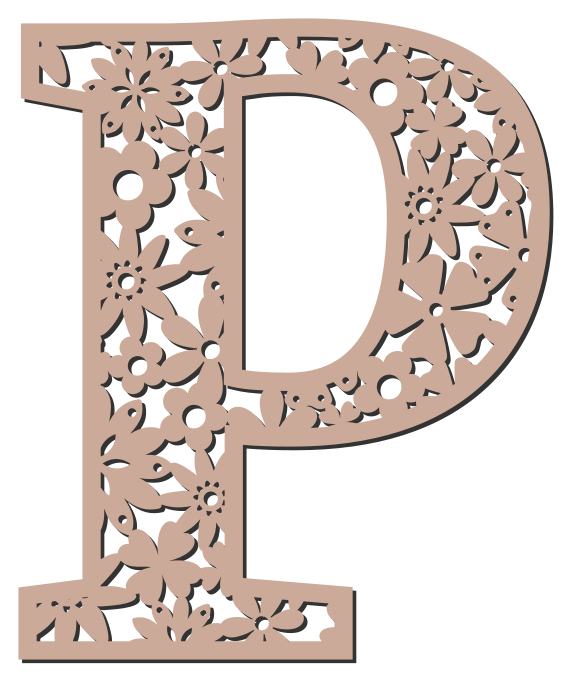 Free P  - floral font. Floral letter, flower font stencil, letter font, numbers, pattern, carving, template, clipart, printable alphabet letters and numbers, DIY, homemade, back to school, bulletin board, cricut, silhouette, coloring page, vector, svg.