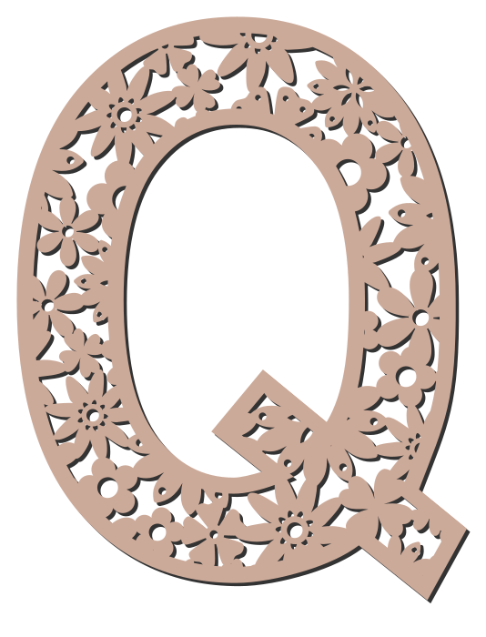 Free Q  - floral font. Floral letter, flower font stencil, letter font, numbers, pattern, carving, template, clipart, printable alphabet letters and numbers, DIY, homemade, back to school, bulletin board, cricut, silhouette, coloring page, vector, svg.