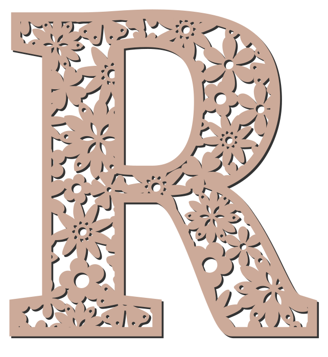 Free R  - floral font. Floral letter, flower font stencil, letter font, numbers, pattern, carving, template, clipart, printable alphabet letters and numbers, DIY, homemade, back to school, bulletin board, cricut, silhouette, coloring page, vector, svg.