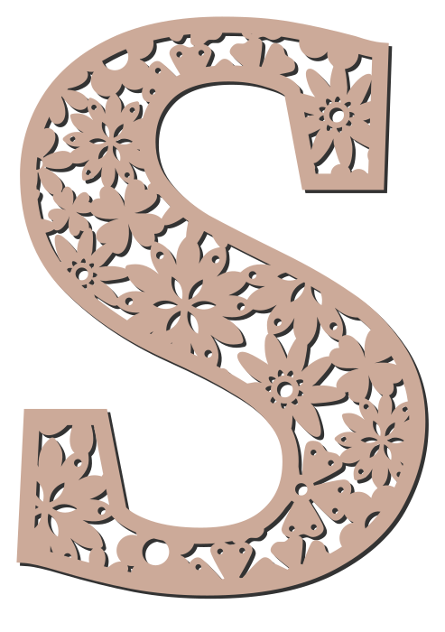 Free S  - floral font. Floral letter, flower font stencil, letter font, numbers, pattern, carving, template, clipart, printable alphabet letters and numbers, DIY, homemade, back to school, bulletin board, cricut, silhouette, coloring page, vector, svg.