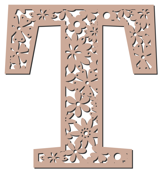 Free T  - floral font. Floral letter, flower font stencil, letter font, numbers, pattern, carving, template, clipart, printable alphabet letters and numbers, DIY, homemade, back to school, bulletin board, cricut, silhouette, coloring page, vector, svg.
