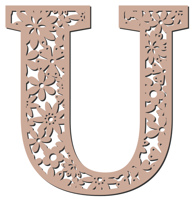 Free U  - floral font. Floral letter, flower font stencil, letter font, numbers, pattern, carving, template, clipart, printable alphabet letters and numbers, DIY, homemade, back to school, bulletin board, cricut, silhouette, coloring page, vector, svg.