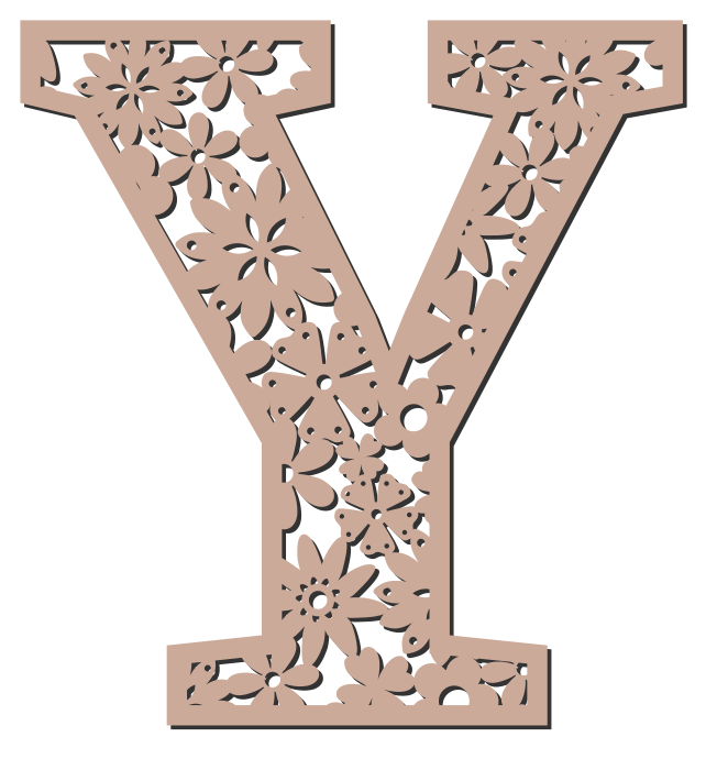 Free Y  - floral font. Floral letter, flower font stencil, letter font, numbers, pattern, carving, template, clipart, printable alphabet letters and numbers, DIY, homemade, back to school, bulletin board, cricut, silhouette, coloring page, vector, svg.