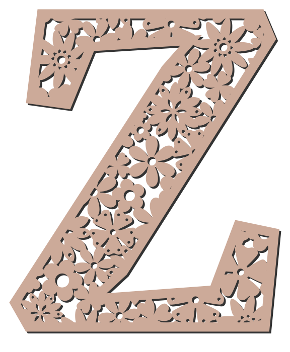 Free Z  - floral font. Floral letter, flower font stencil, letter font, numbers, pattern, carving, template, clipart, printable alphabet letters and numbers, DIY, homemade, back to school, bulletin board, cricut, silhouette, coloring page, vector, svg.
