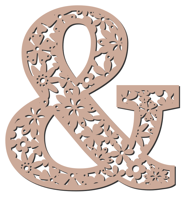 Free Ampersand. Floral letter, flower font stencil, letter font, numbers, pattern, carving, template, clipart, printable alphabet letters and numbers, DIY, homemade, back to school, bulletin board, cricut, silhouette, coloring page, vector, svg.