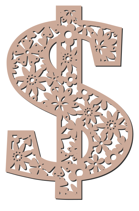 Free Dollar sign. Floral letter, flower font stencil, letter font, numbers, pattern, carving, template, clipart, printable alphabet letters and numbers, DIY, homemade, back to school, bulletin board, cricut, silhouette, coloring page, vector, svg.