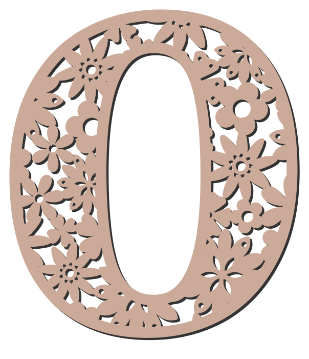 Free 0  - flower stencil. Floral letter, flower font stencil, letter font, numbers, pattern, carving, template, clipart, printable alphabet letters and numbers, DIY, homemade, back to school, bulletin board, cricut, silhouette, coloring page, vector, svg.